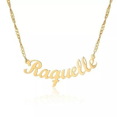 Custom Nameplate Necklace With Curve Pendant Design