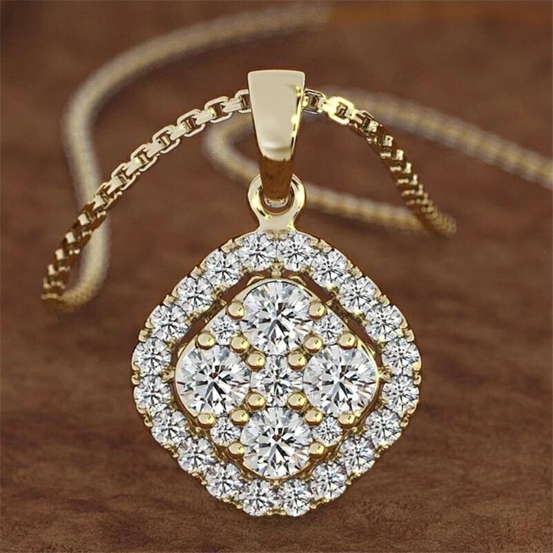 18K gold Necklace pierscionki Gemstone 2 Carats Diamond Pendant