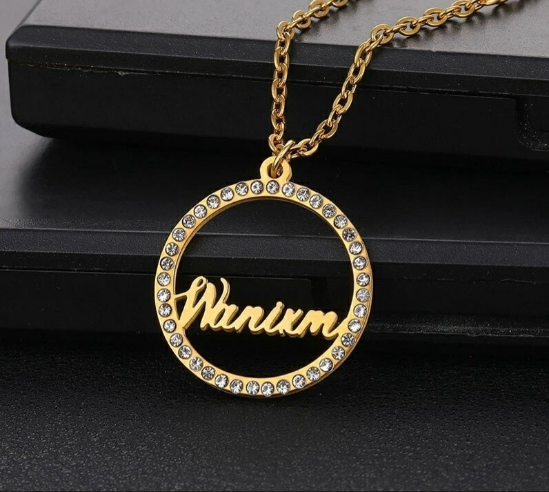 Round Stainless Steel Custom Name Necklace