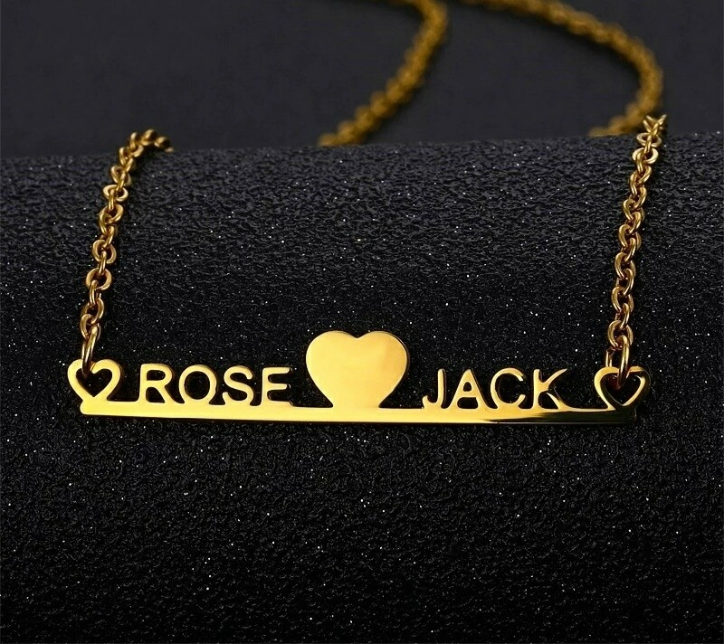 Customized Couple Nameplate Heart Jewelry