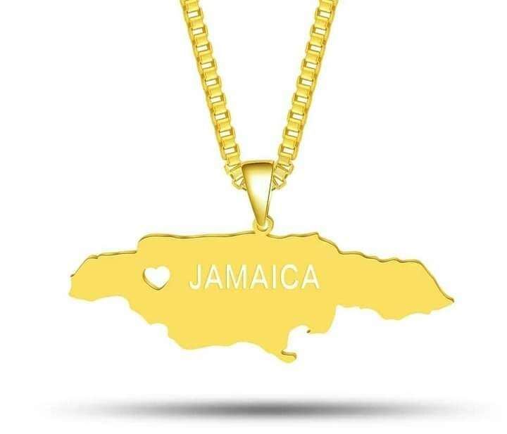 Customized Stainless Steel Map Of Jamaica Necklace