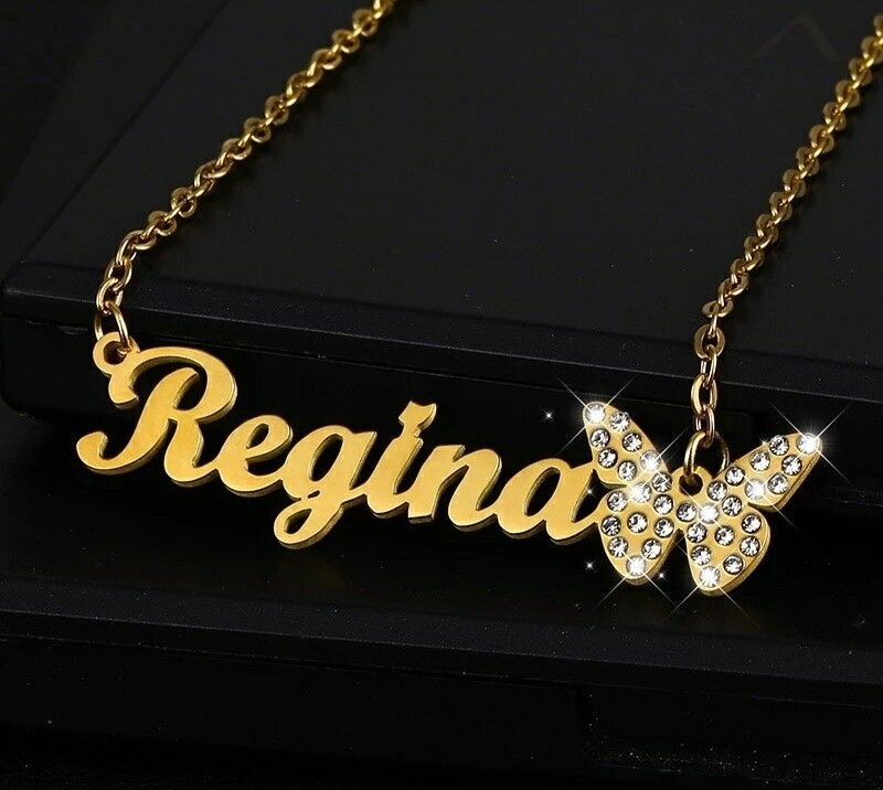 Personalized Name Necklace Zircon Butterfly Pendant