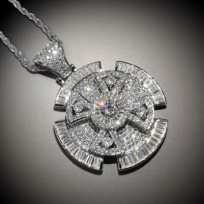 Spinner Cross Pendant Necklace AAA Zircon