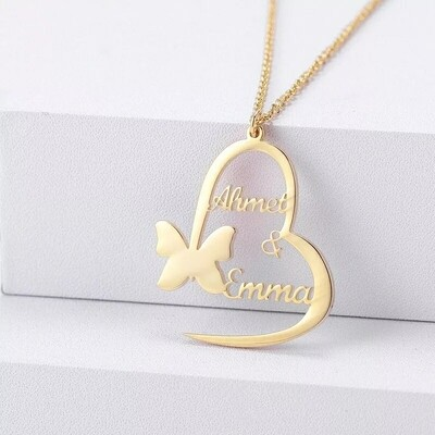Handmade Stainless Steel Butterfly Heart Pendants Custom Name Necklace