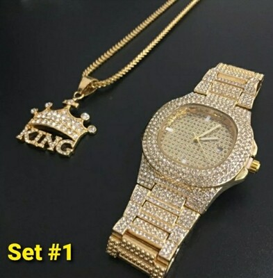 Luxury Men Watch & Necklace Iced Out Combo Set