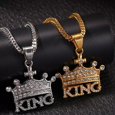 Crown KING Stainless Steel Rhinestone Pendant Necklace