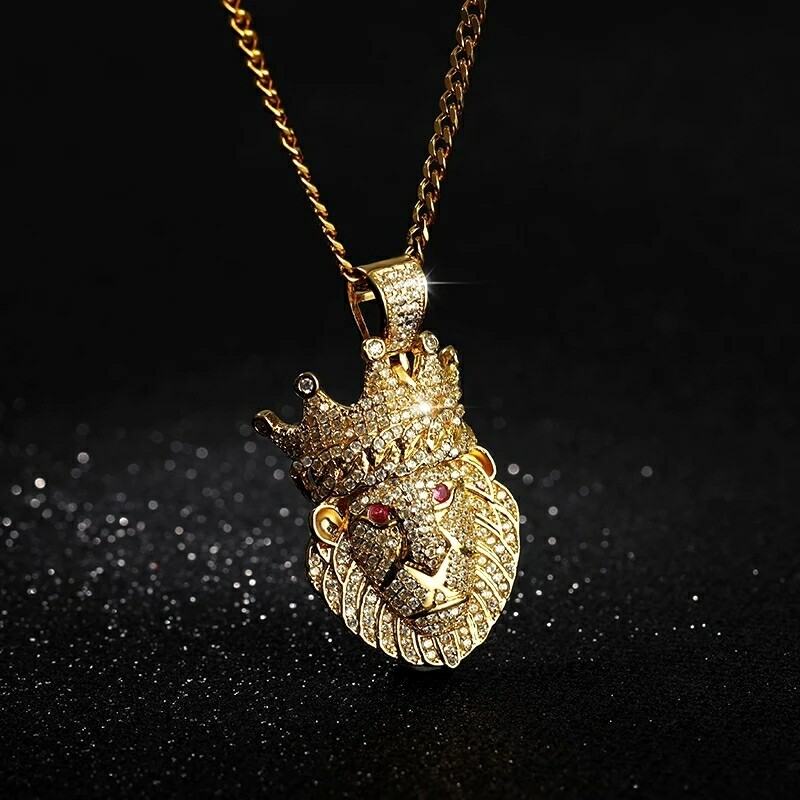 Crystal Crown Icedout Lion Pendant Necklace