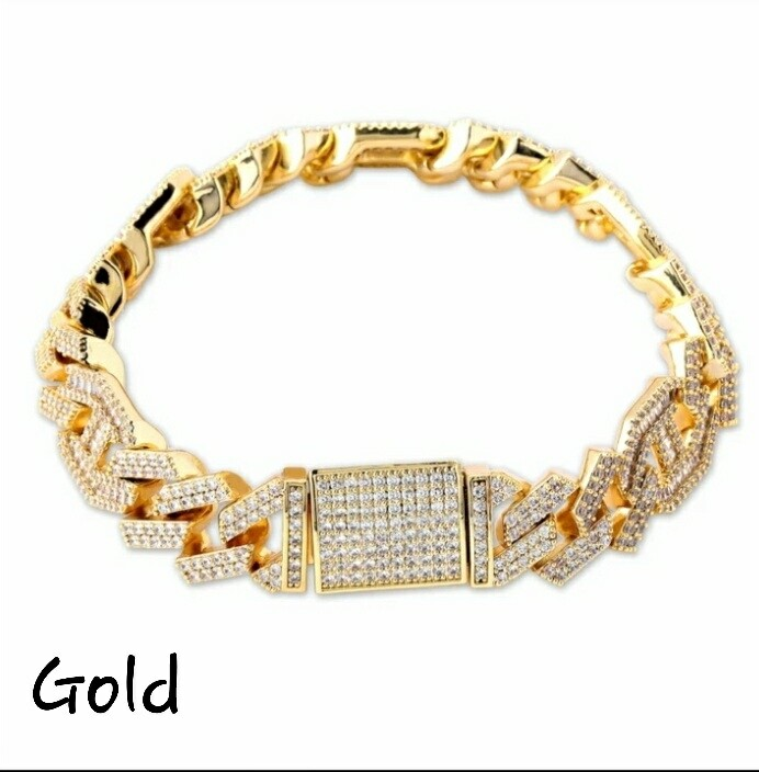 14mm Micro paved Baguette Zircon Cuban Bracelet Iced Out Jewelry