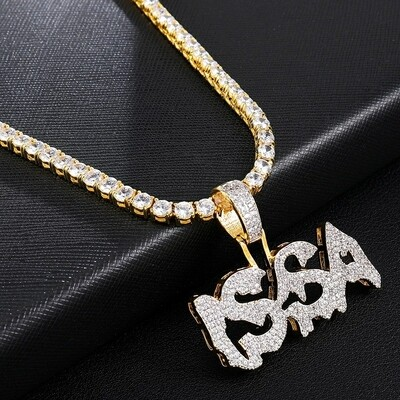 Iced Out CZ Gold Letters ISSA Pendants & Necklaces Micro Paved Necklace For Men With Tennis Chain