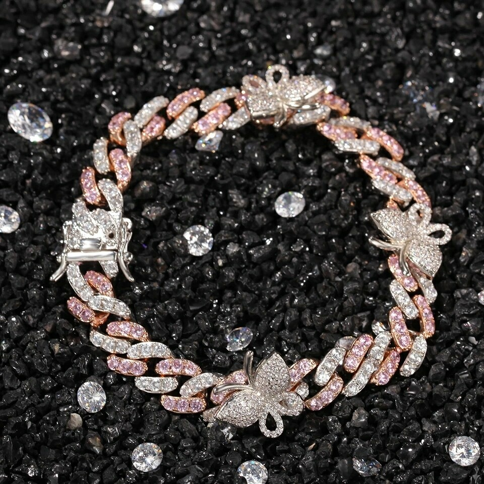 9mm Cuban Link Bracelet And Anklet With Butterfly