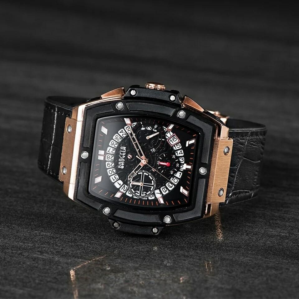 Chronograph Mens Quartz Sport Wrist Watches Genuine Luxury Leather