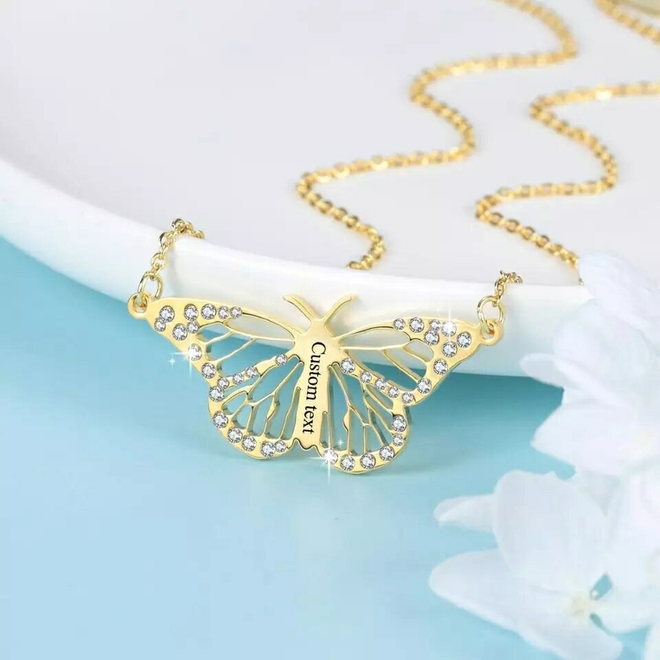 Custom Name Butterfly Necklace