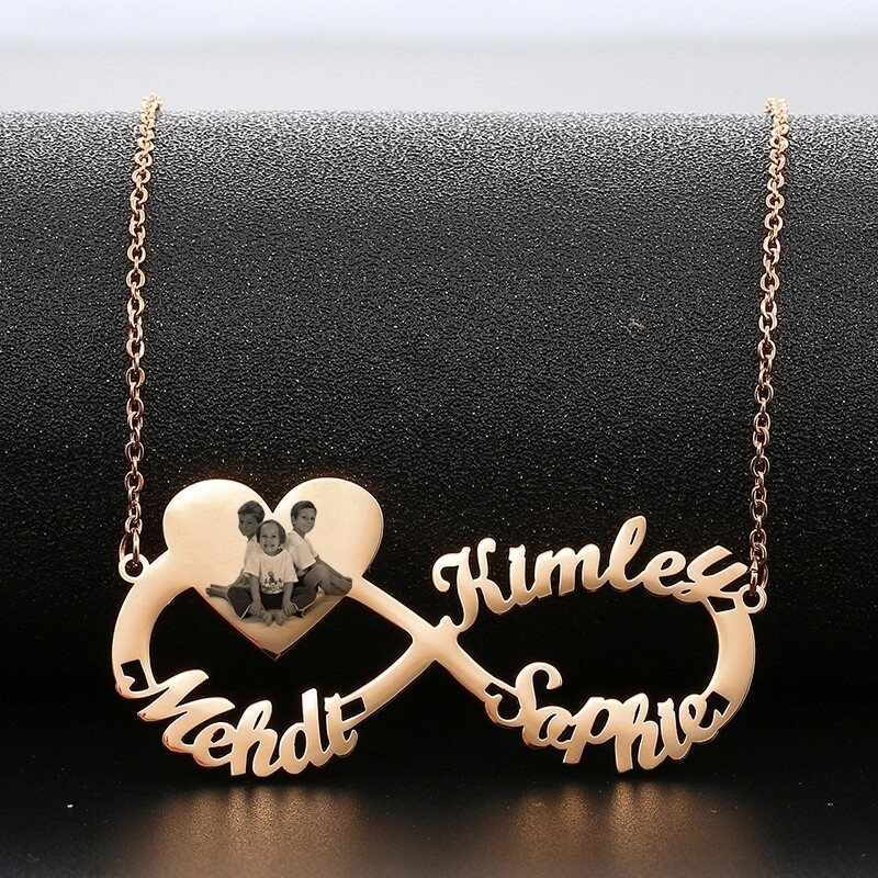 Infinity Name Necklace With Heart Engraved Photo