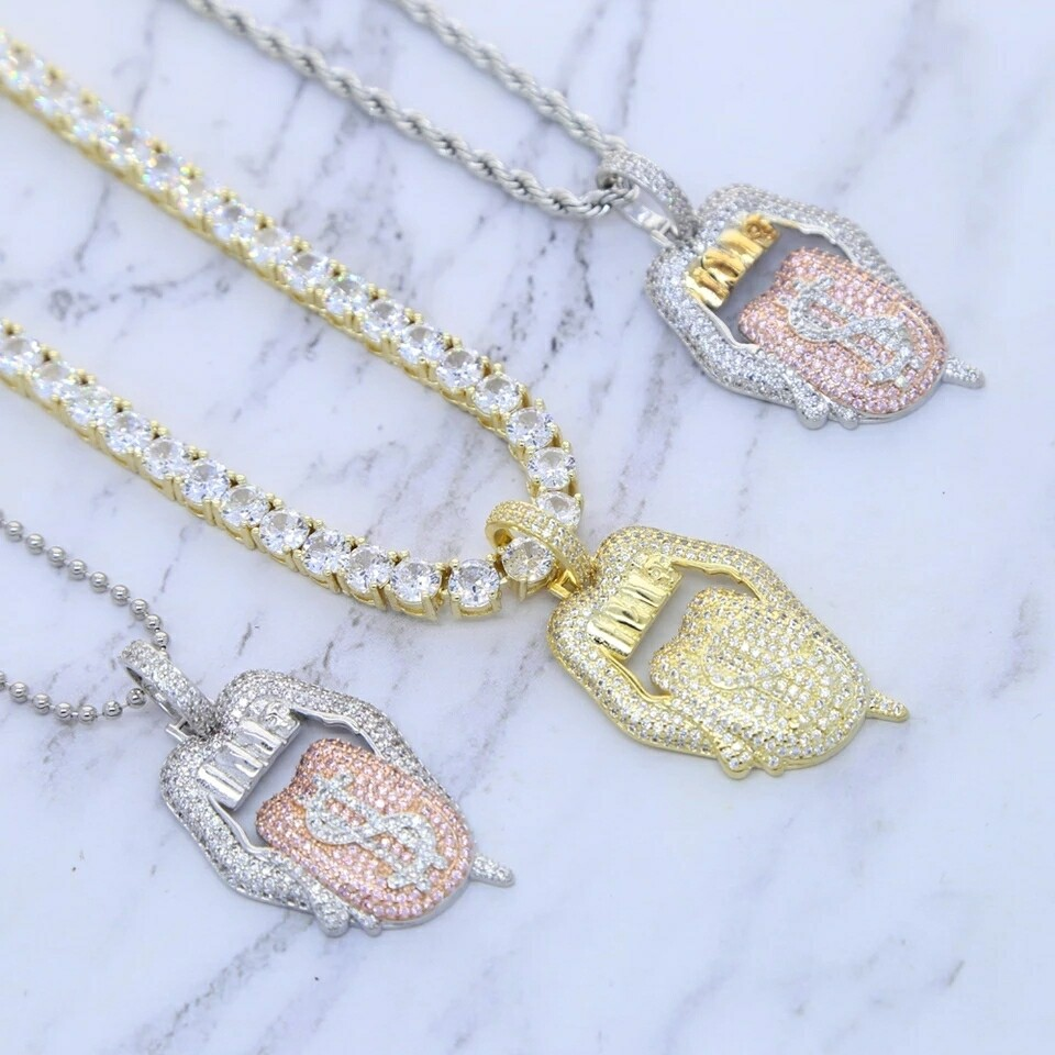 Icedout Dollar Sign Pendant Necklace