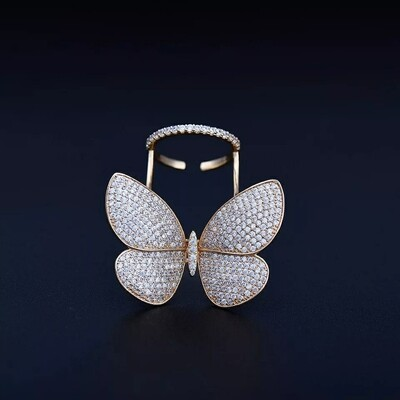 Adjustable Mirco Paved Butterfly Shaped Ring