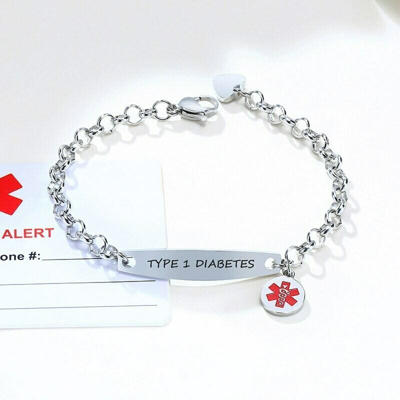 Custom Engrave Medical Alert ID Bracelets For Women