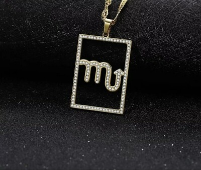 Icedout Zodiac Sign Pendant Necklace
