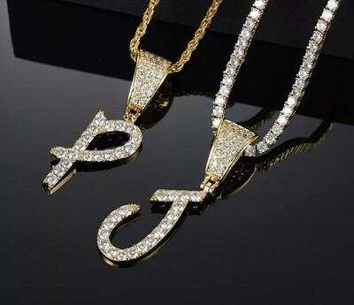 Icedout Cursive Letter Pendant Necklace