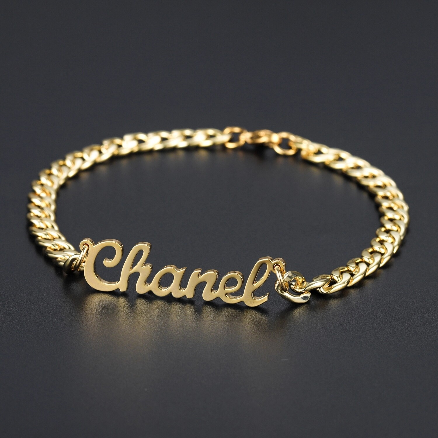 Personalized Name Bracelet 18K Gold Plated Stainless Steel Curb Chain