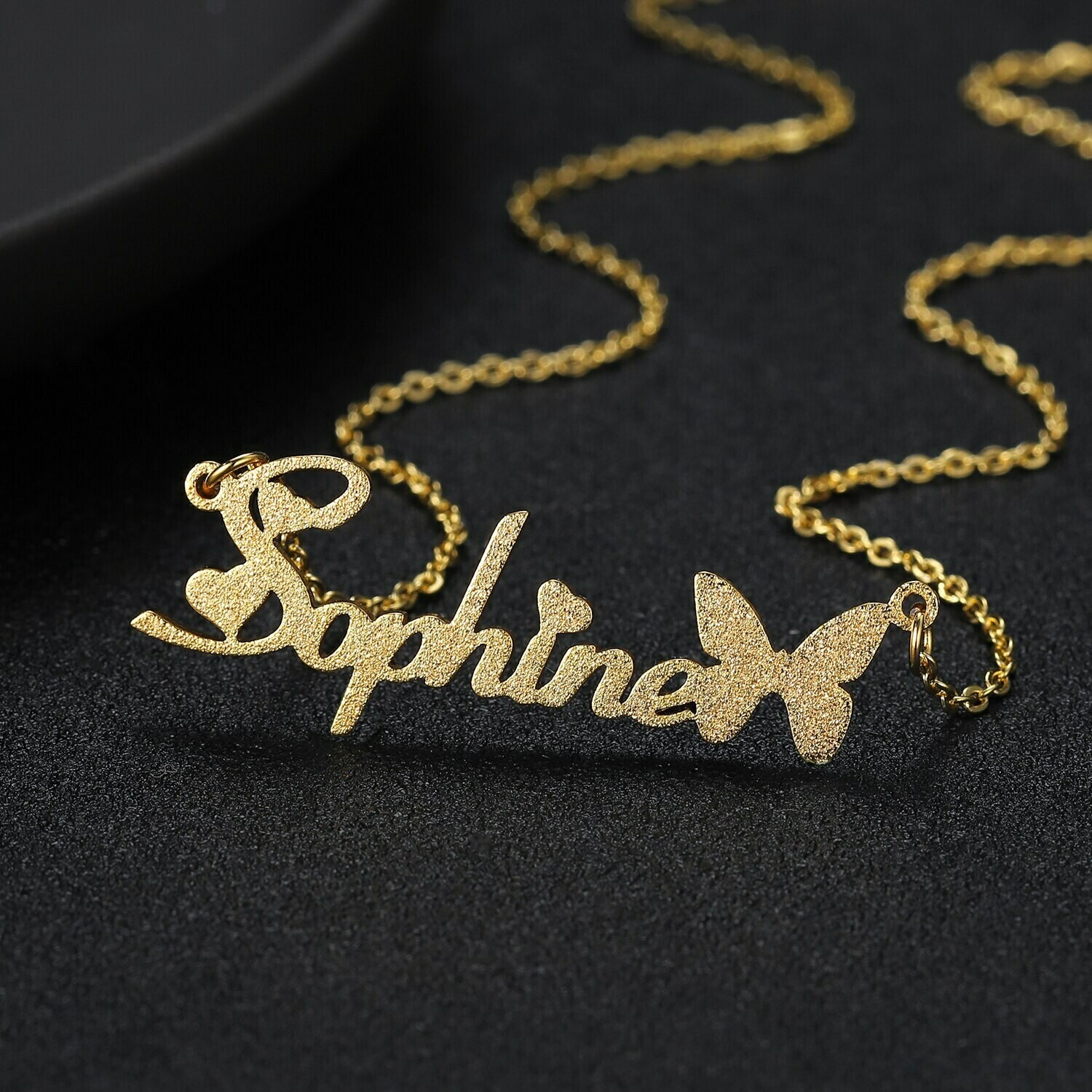 Personalized Frosted Name Butterfly Design Necklace
