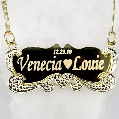 Customized Name Plated Gold Stainless Steel Necklace