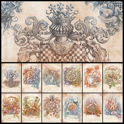 Saurians Renaissance: Set of 12 postcards