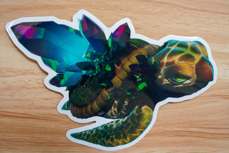 Tourmaline Space Turtle Sticker