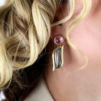 18K Gold Topaz Earrings 1990's