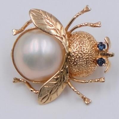 14k Gold Sapphires Bug Brooch