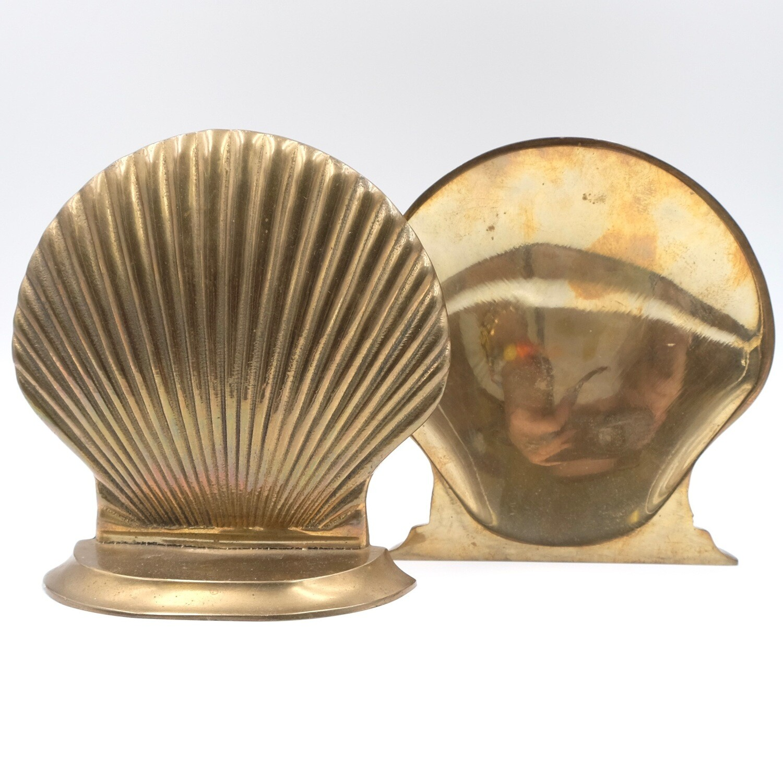 Bronze Book Holders Shell Shape 1950's