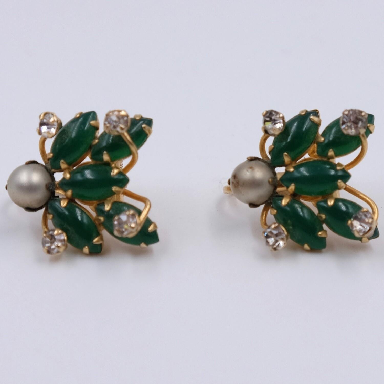 Vintage Hattie Carnegie Earrings with Green Glass 1960's