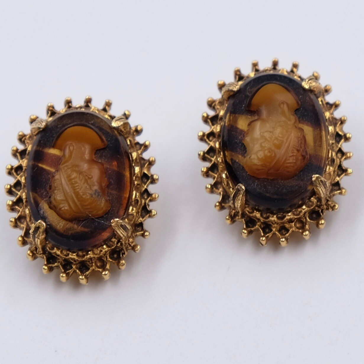 Vintage Florenza Cameo Earrings