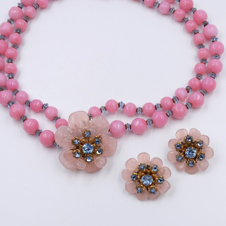 Vintage Miriam Haskell Pink Flowers Set