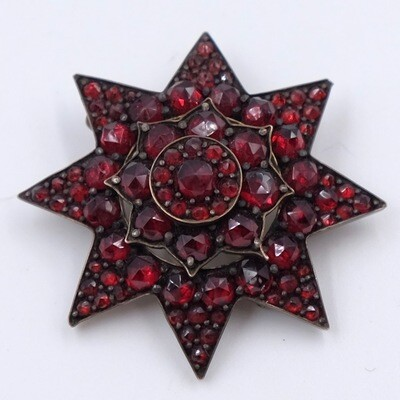Antiques Victorian Star Garnets Brooch