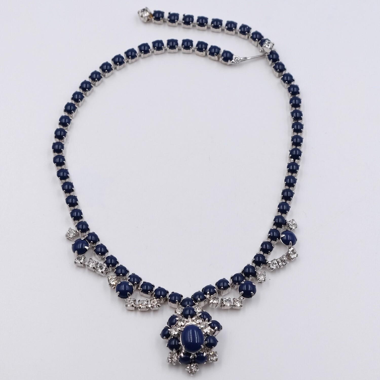 Vintage Blue Glass Necklace Christian Dior 1950's