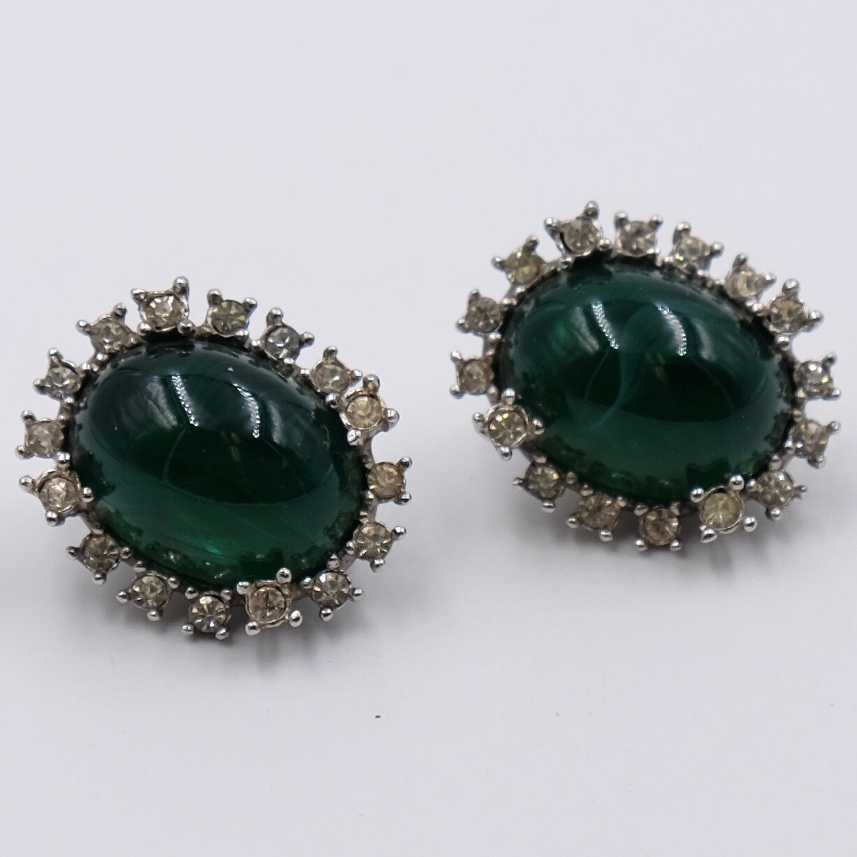 Vintage Marvella Green Glass Earrings