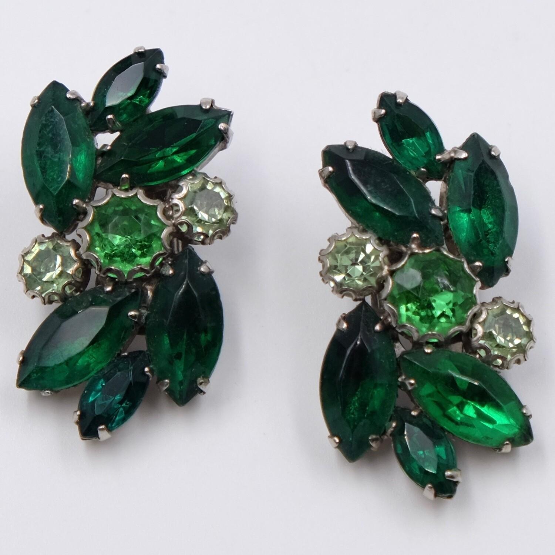 Vintage Green Glass Earrings