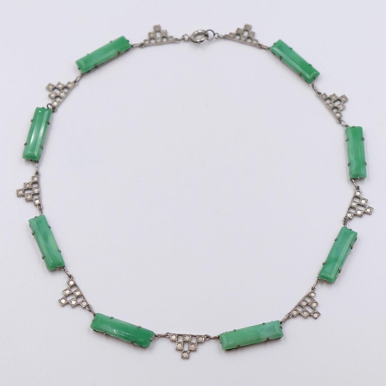 Antique Faux Jade Necklace Art-Deco 1930's