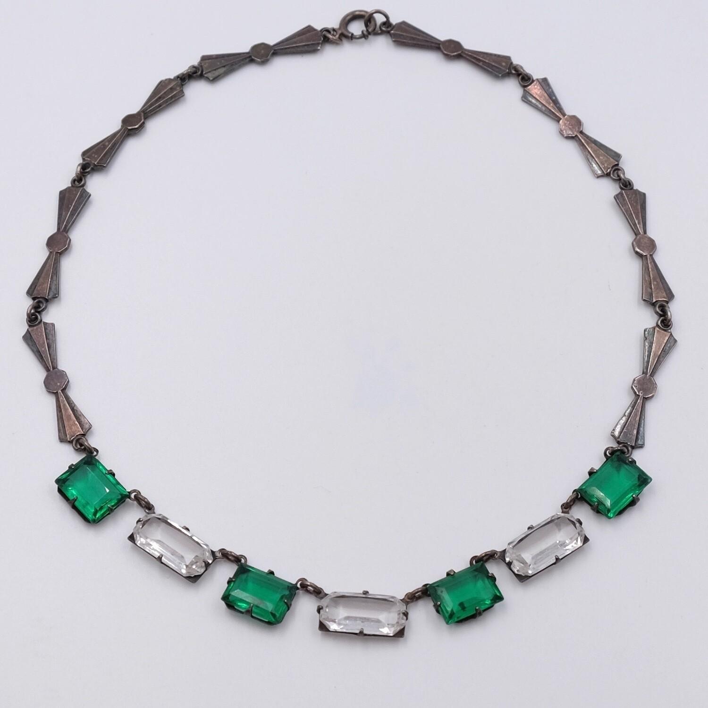 Antique Faux Emerald Necklace Art Deco Necklace
