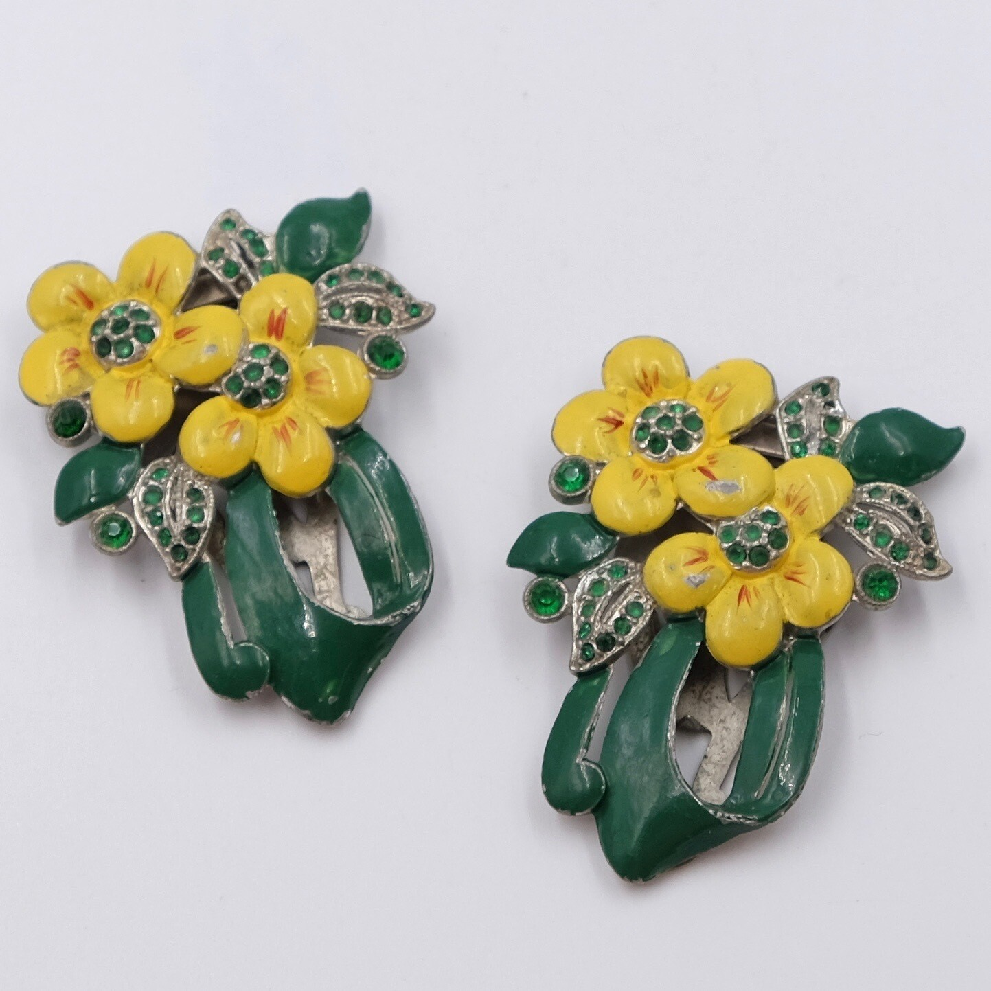 Antique Enamel Double Dress Clips