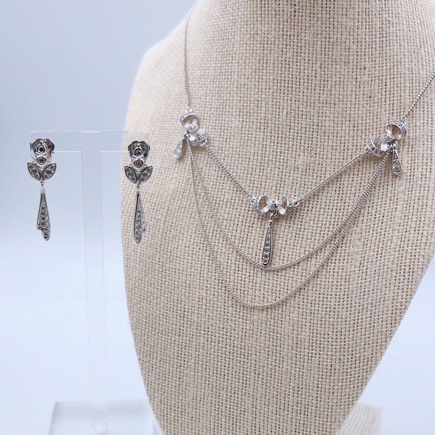 Vintage Christian Dior Silvertone Delicate Bow Set Necklace and Earrings