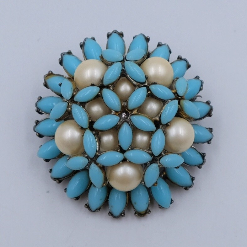Vintage Blue Flower brooch 1970's