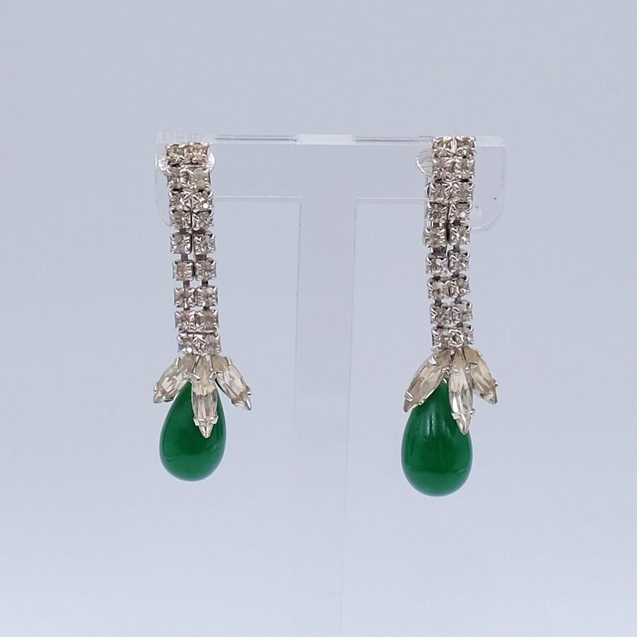 Vintage Faux Emeralds Earrings 1950's
