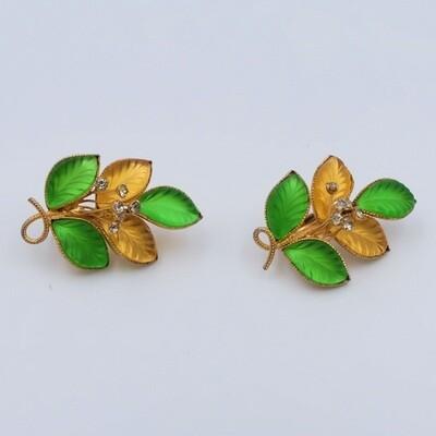 Винтажные клипсы Hattie Carnegie желтые и зеленые листья