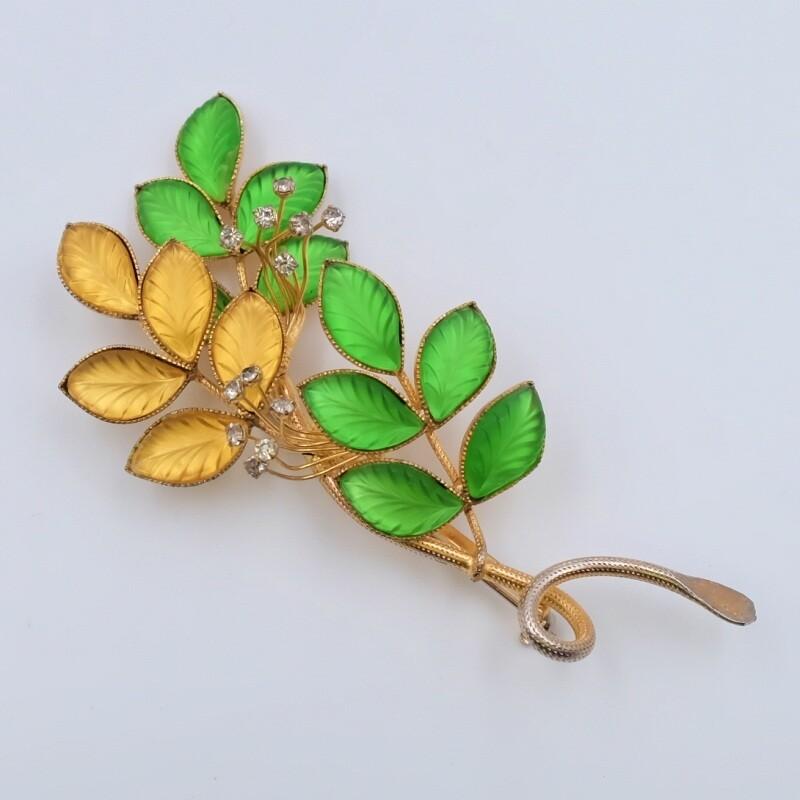 Винтажная брошь Hattie Carnegie желтые и зеленые листья