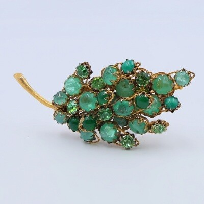 Vintage DeMario Green Poured Glass Brooch 1970's
