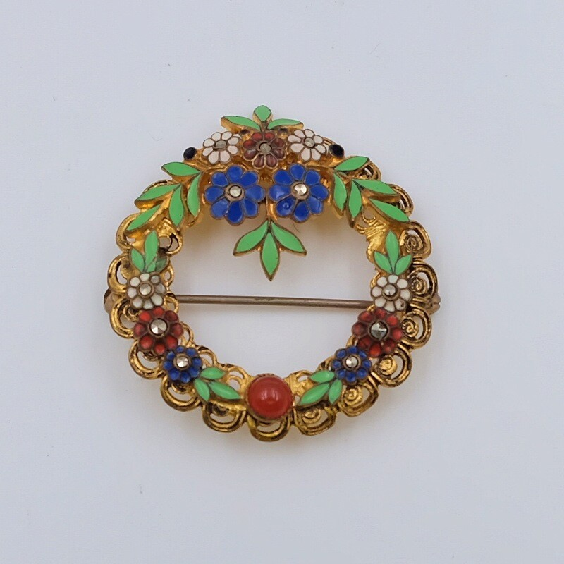 Antique Czech Round Enamel Flower Brooch 1930's