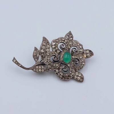 Antique Germany Sterling Silver Paste Emerald Brooch 1910's