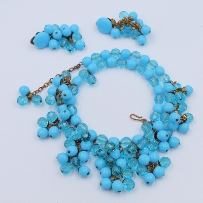 Vintage Blue Glass West Germany Set Necklace and Earrings