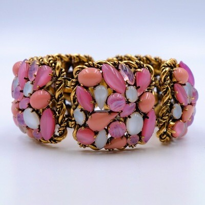 Vintage Pink Glass massive Bracelet Western Germany 1960's